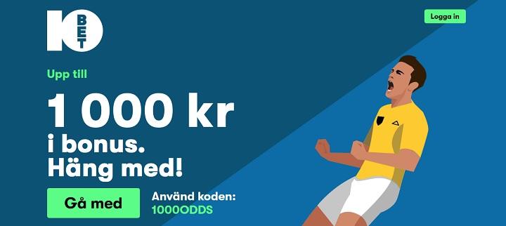 10Bet oddsbonus på 1000 kr