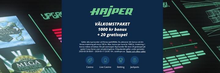 Ny bra casinobonus hos Hajper