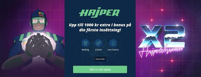 Hajper oddsbonus ger nya spelare 100% bonus!